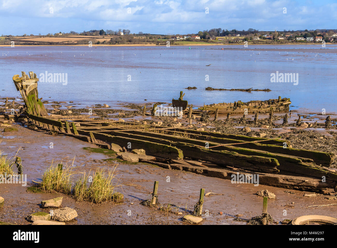 Bits of old boats visible at low tide on the Exe Estuary, Devon. - Stock Image
