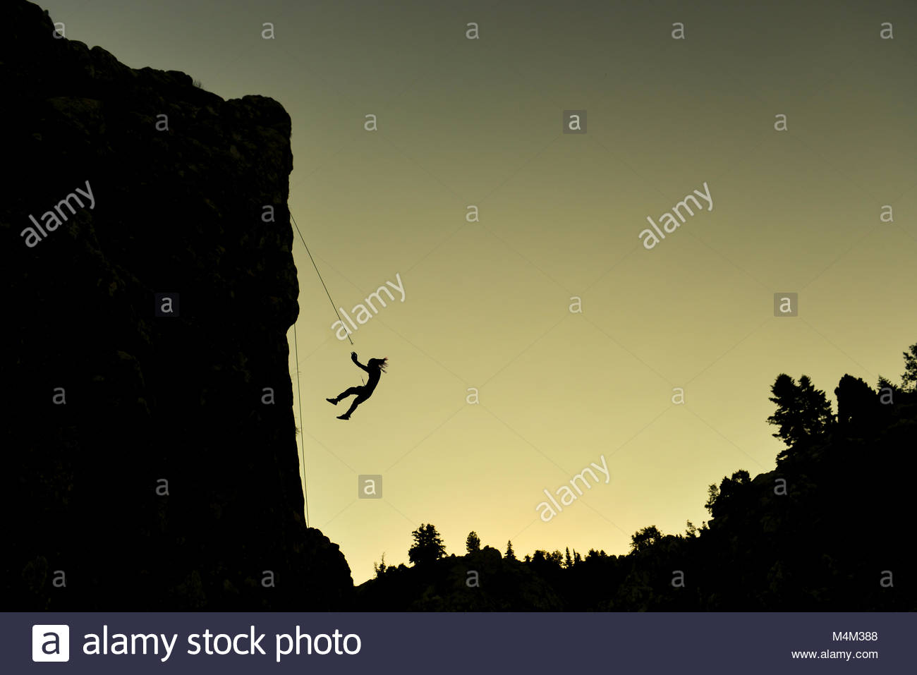 Climbing accidents and material selection - Stock Image