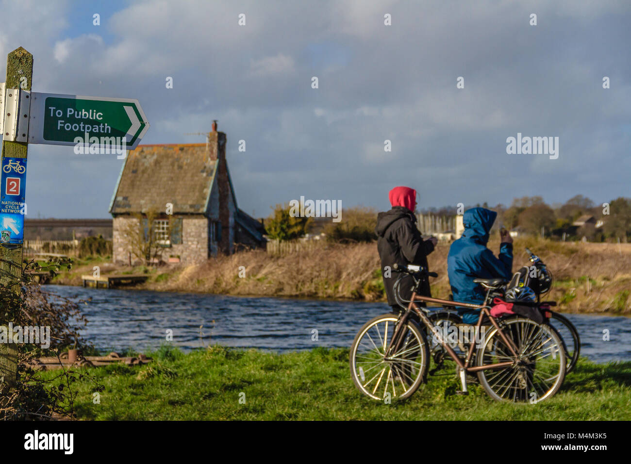 Cyclists by a canal on the Exe Estuary, Devon - Stock Image