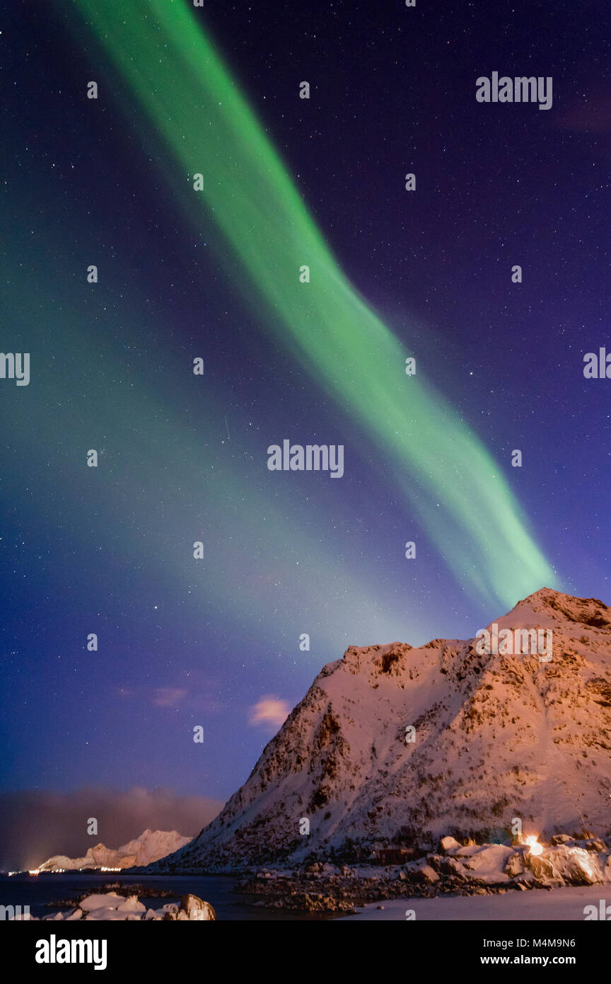 Northern lights in Lofoten Islands - Stock Image