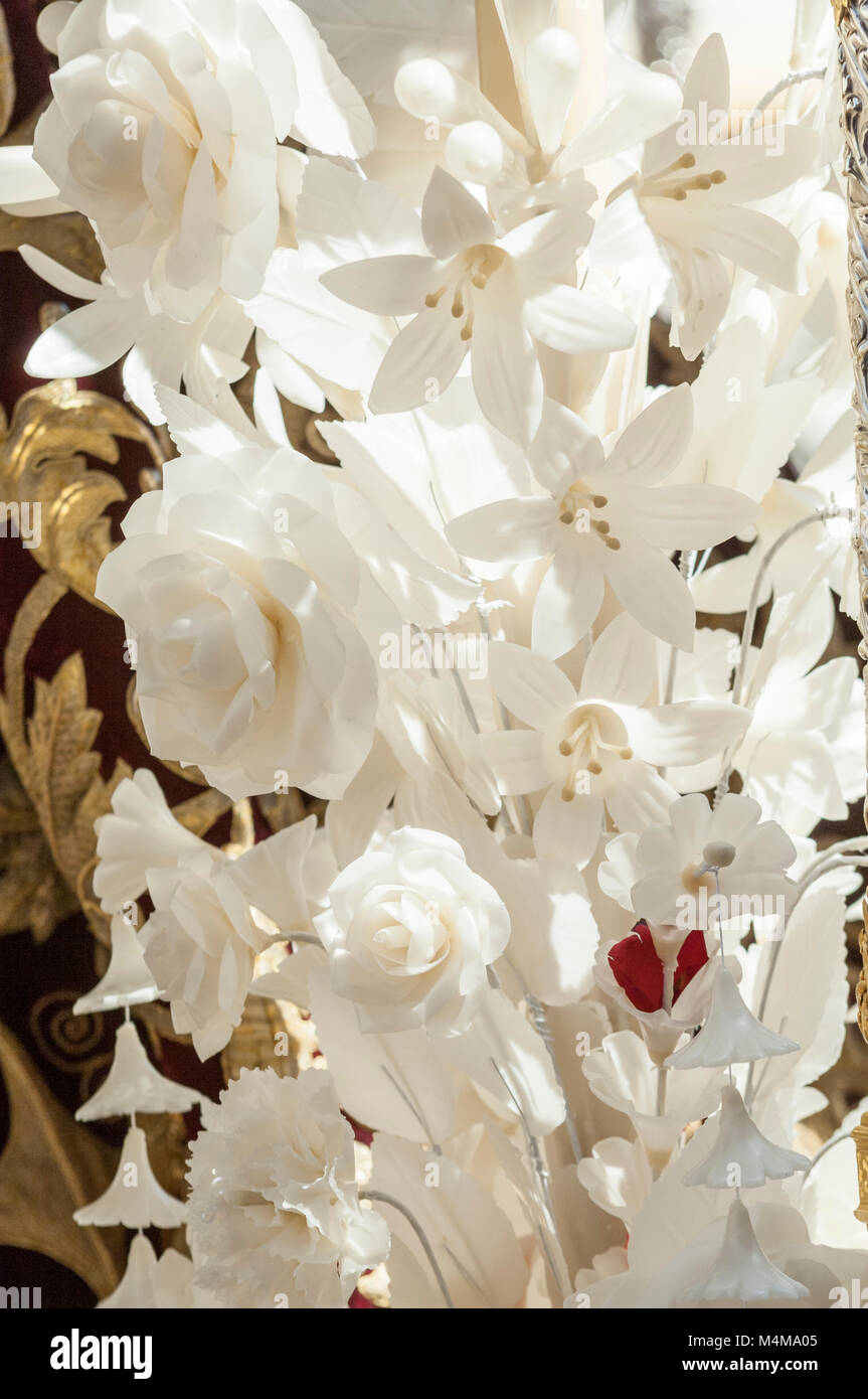 Detail of the floral decoration of the float of pallium of the brotherhood of 'San Bernardo' - Stock Image