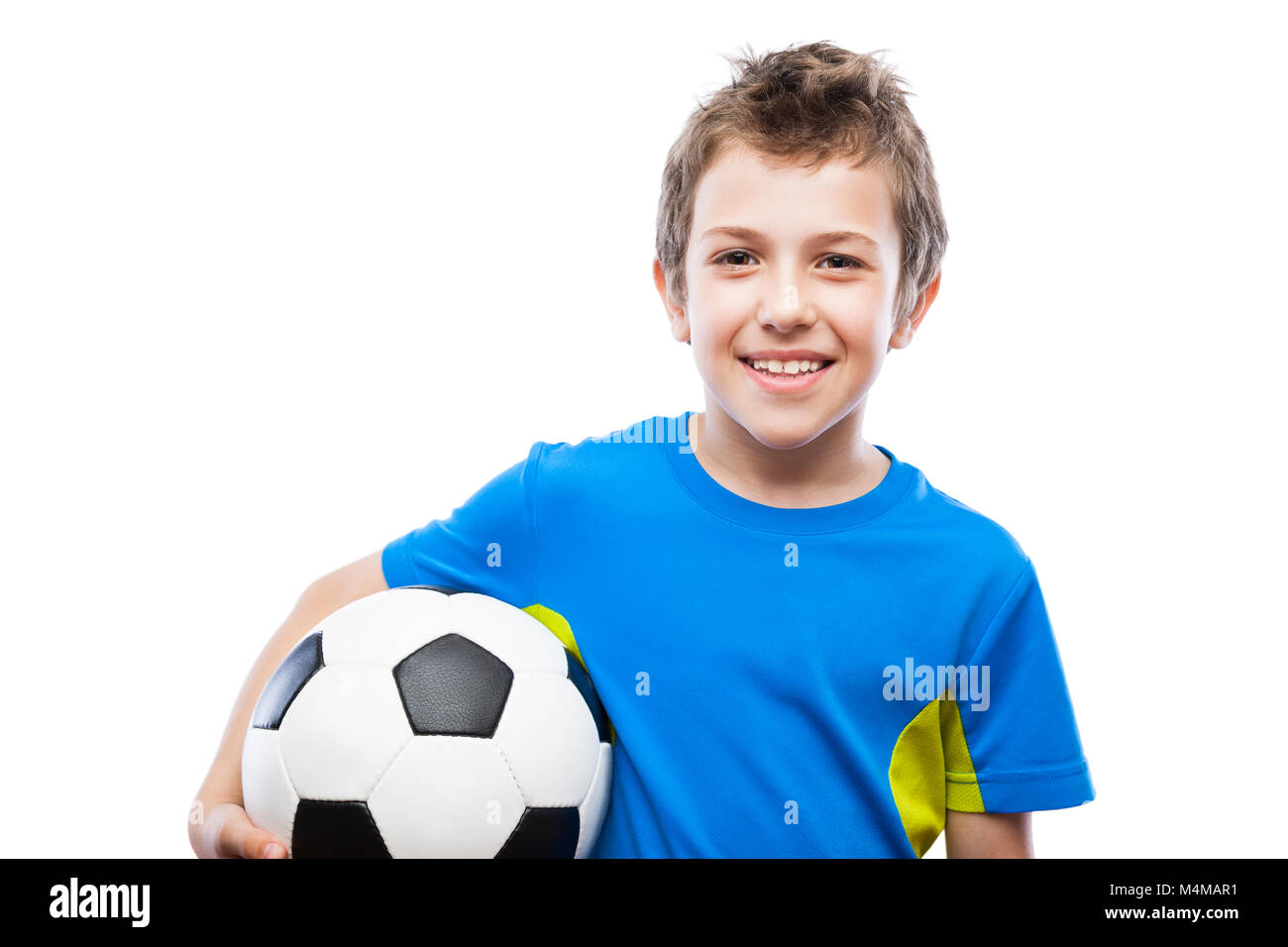 4a9f41972 Handsome smiling child boy holding soccer ball Stock Photo ...
