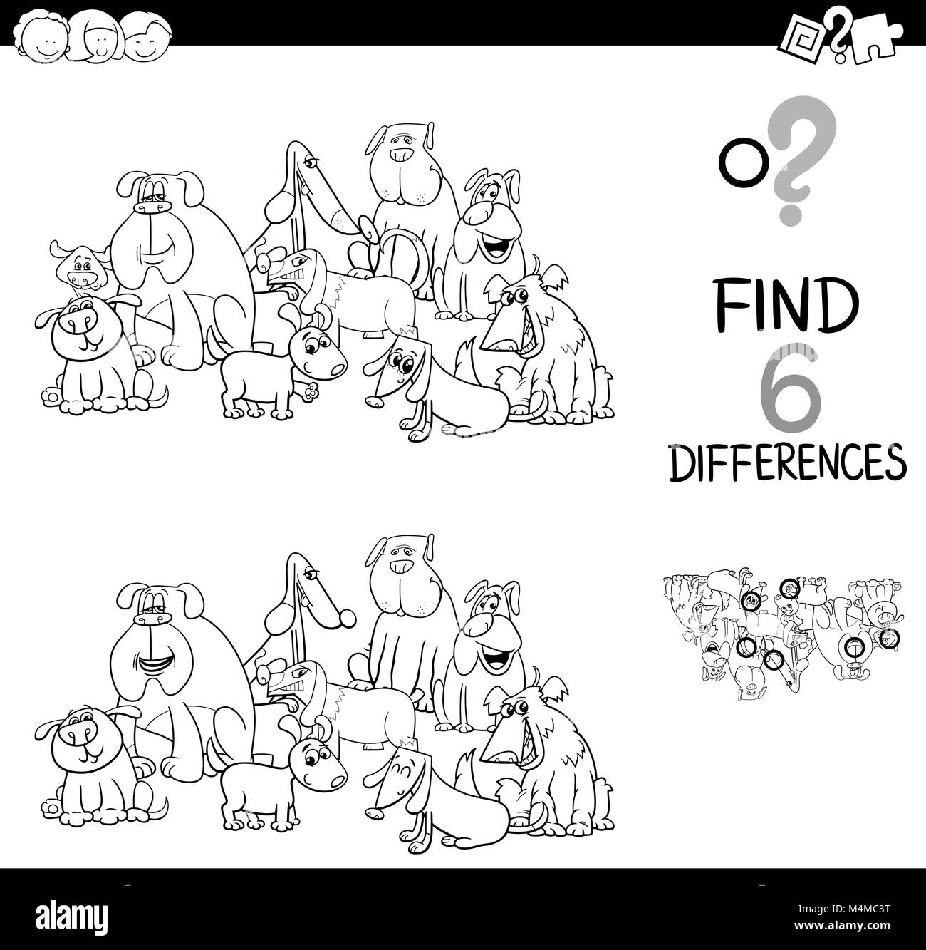 spot the difference with dogs coloring book Stock Photo: 175010860 ...