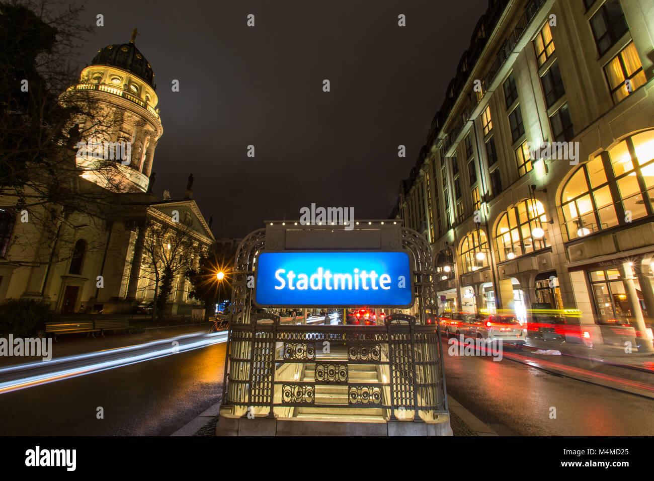 gendarmenmarkt and stadtmitte subway sign berlin germany at night - Stock Image
