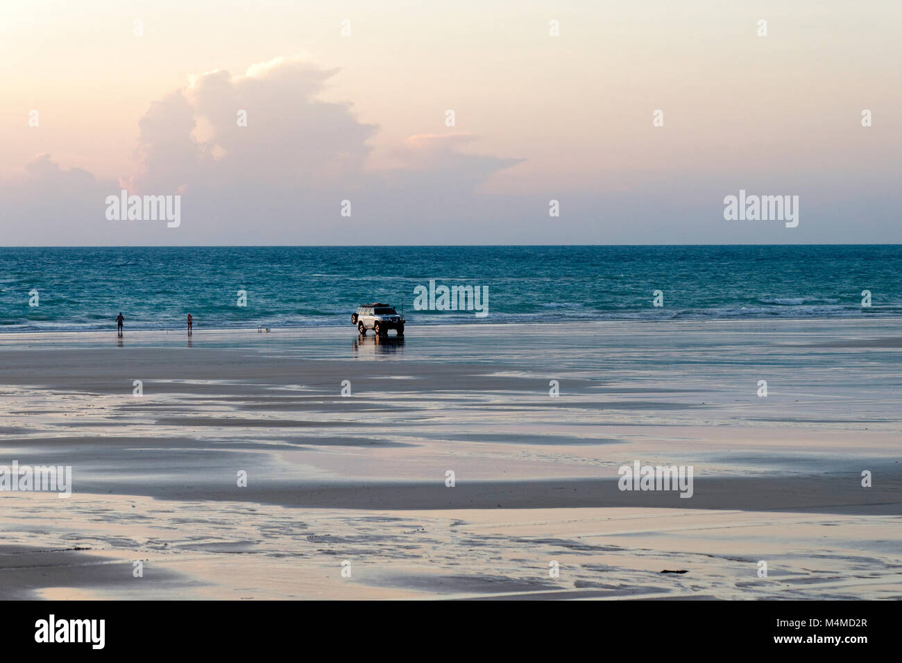 4WD car parked on beach, Cable Beach, Broome, West Kimberley, Western Australia - Stock Image