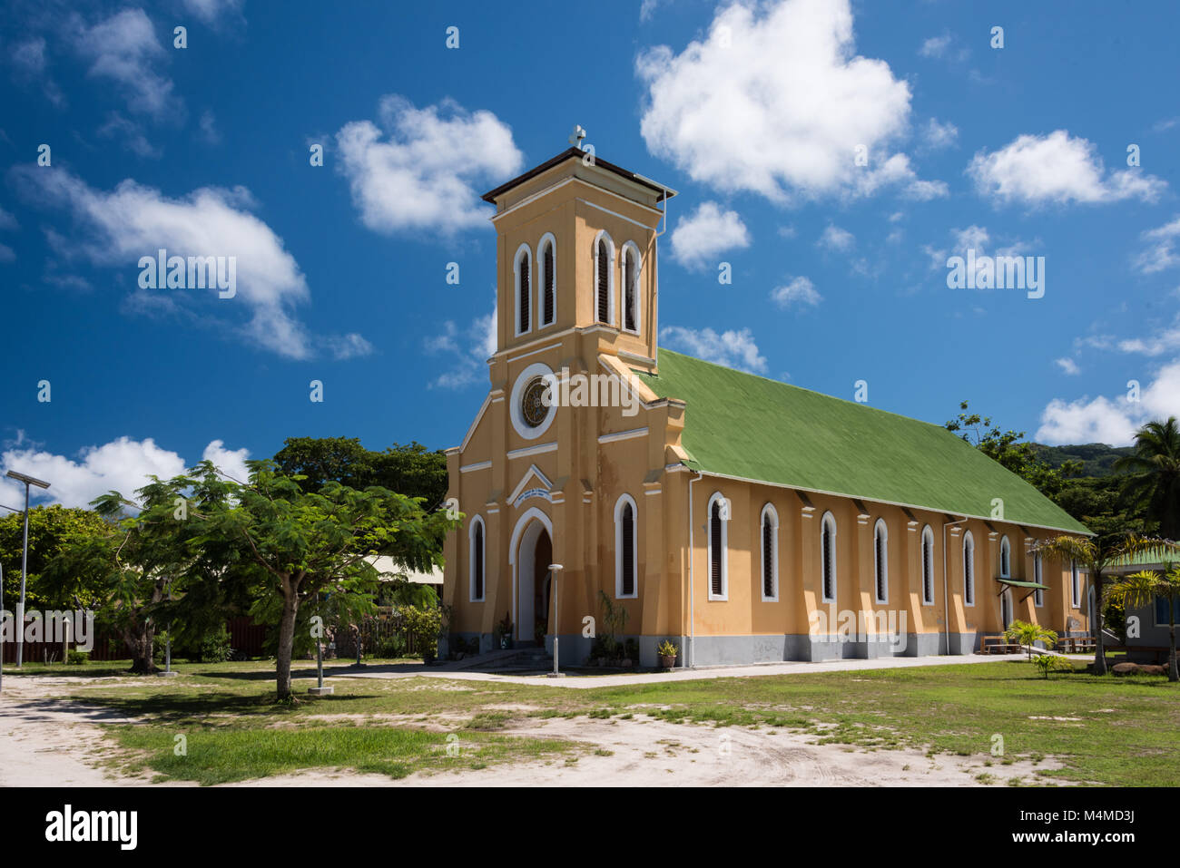 Community Church, La Digue, Seychelles - Stock Image