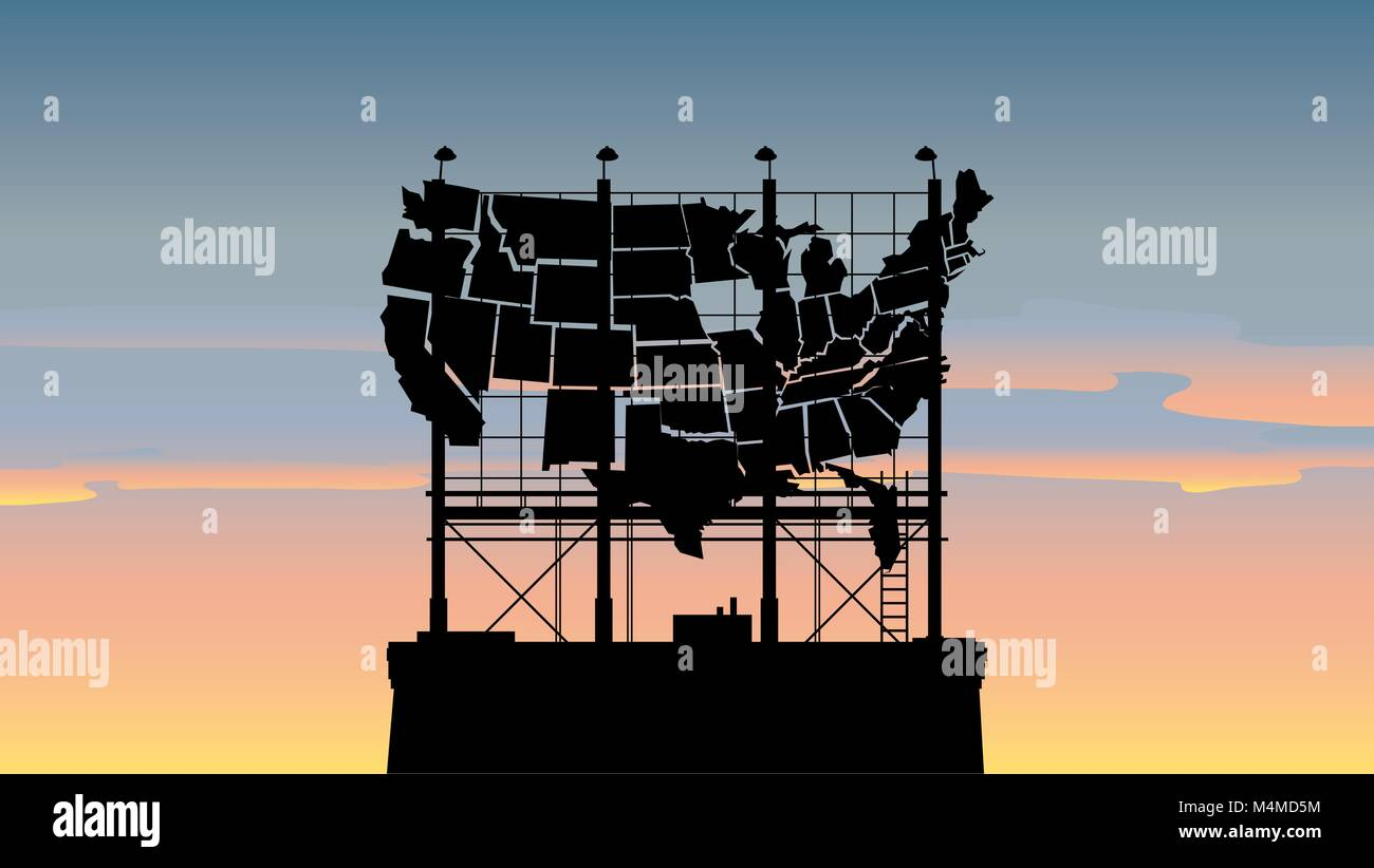 A worn out silhouette billboard in the shape of the United States in an urban setting. - Stock Vector