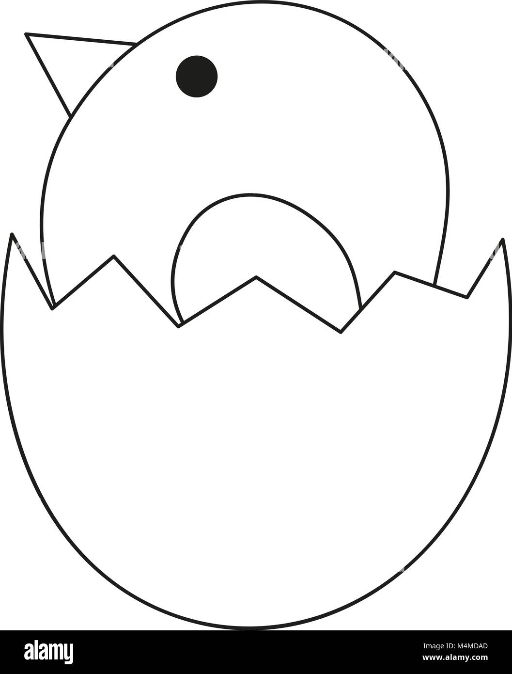 Line art black and white new born chicken chick icon poster. - Stock Image