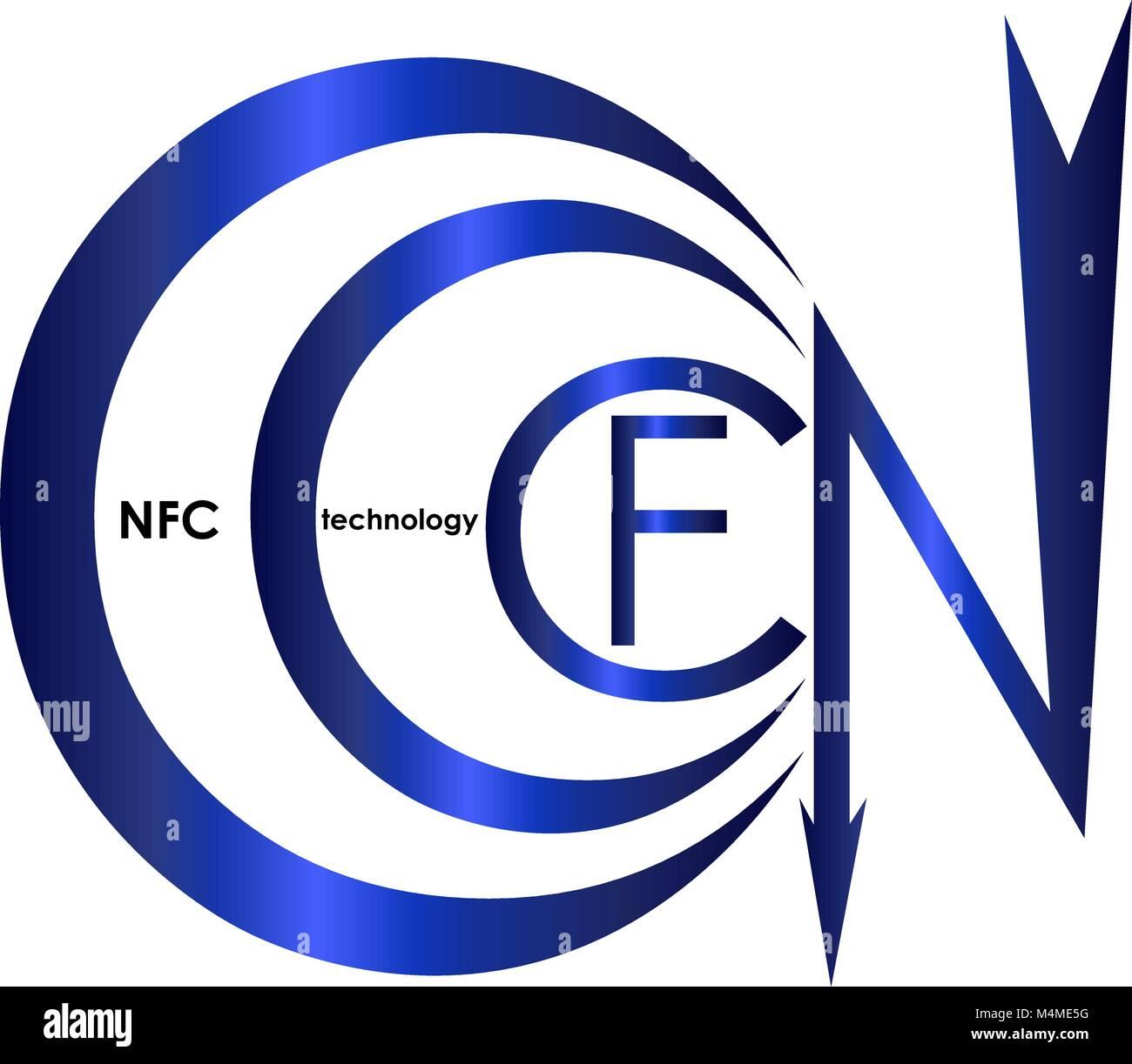 contactless payment technologies NFC logo - Stock Image