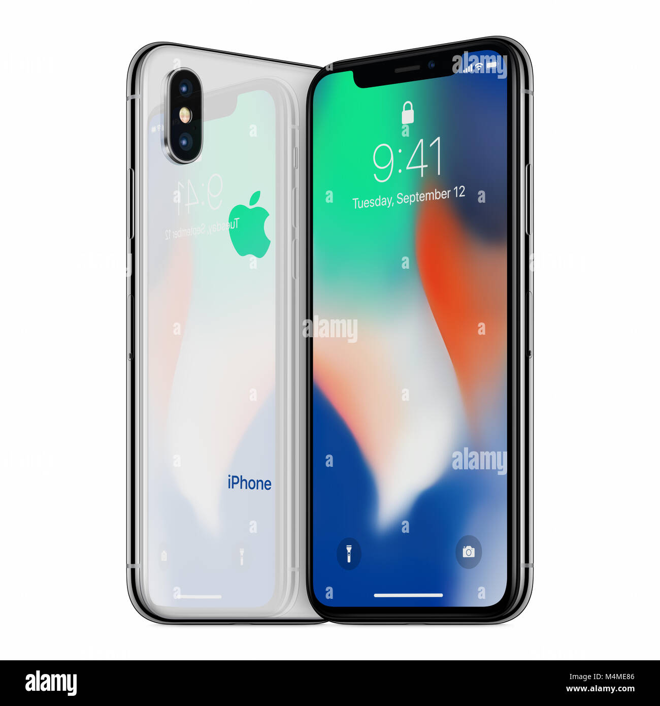Silver turned Apple iPhone X mockup front side and back side facing each other. - Stock Image