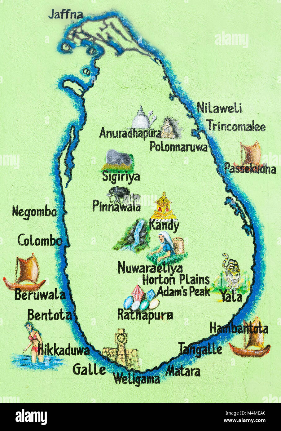 Map Of Asia Sri Lanka.Sri Lanka Asia Hikkaduwa Painted Map Of The Sri Lankan Island