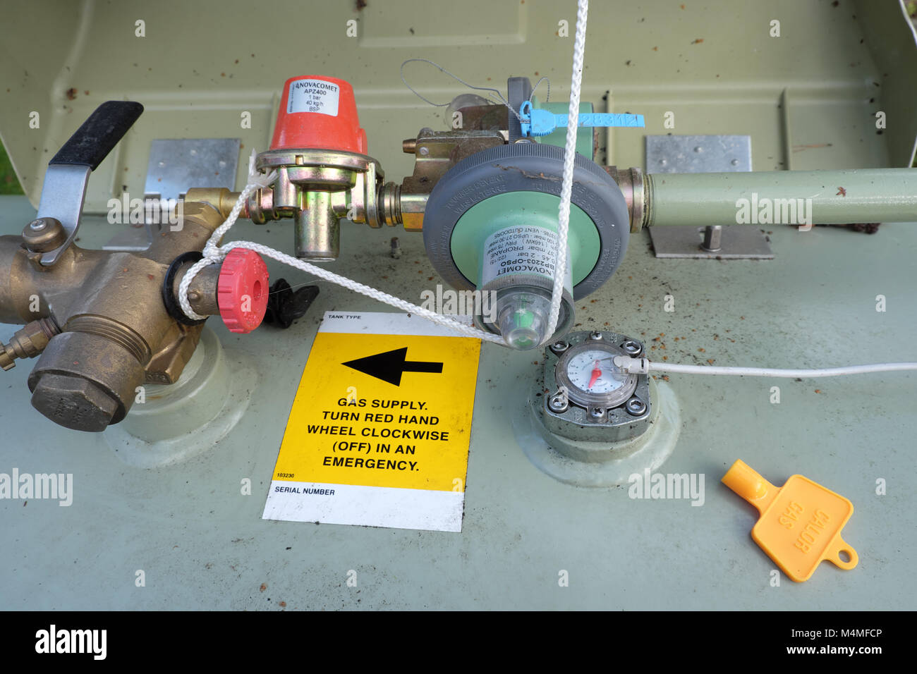 Calor LPG gas tank meter and valves - Stock Image