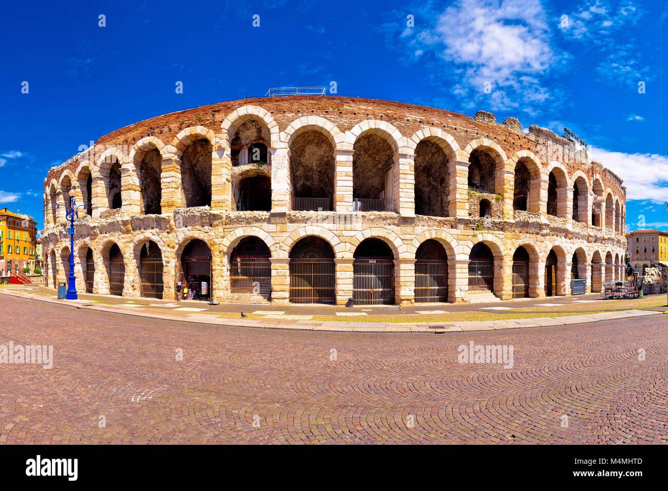 Roman amphitheatre Arena di Verona and Piazza Bra square panoramic view, landmark in Veneto region of Italy Stock Photo