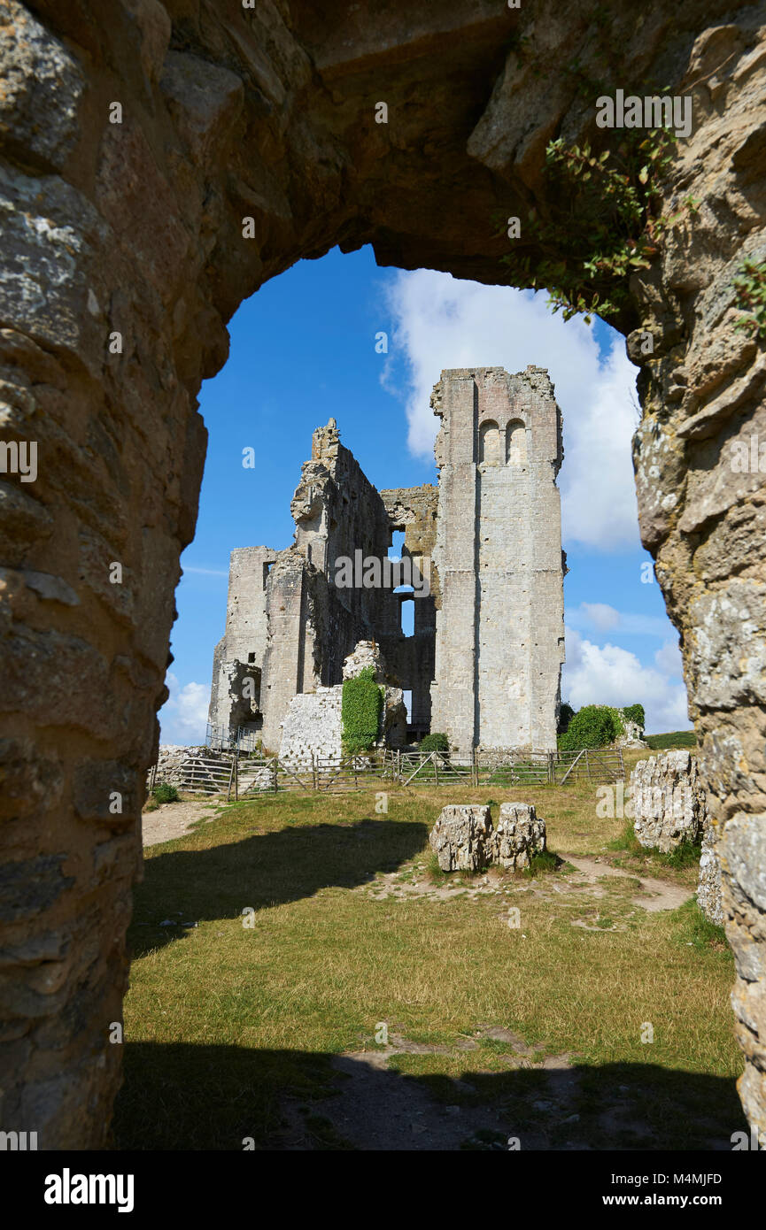 Medieval Corfe castle Keep cloase up, built in 1086 by William the Conqueror, Dorset England - Stock Image
