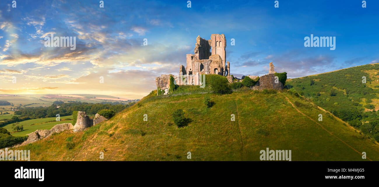 Panorama of Medieval Corfe castle keep  close up  sunrise, built in 1086 by William the Conqueror, Dorset England - Stock Image