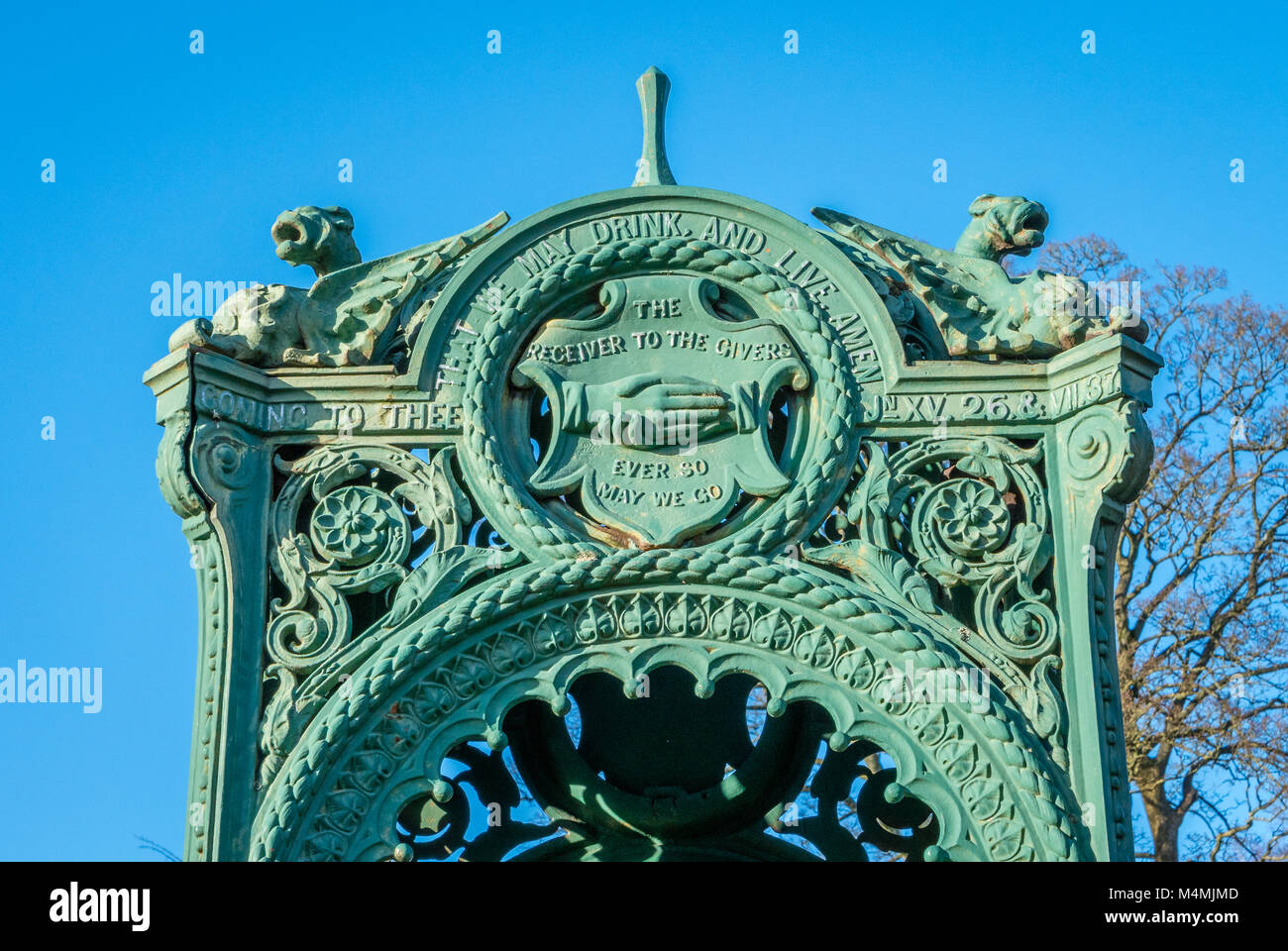 Cast iron water fountain canopy on Clifton Down Bristol erected by a 19th century temperance society to provide - Stock Image