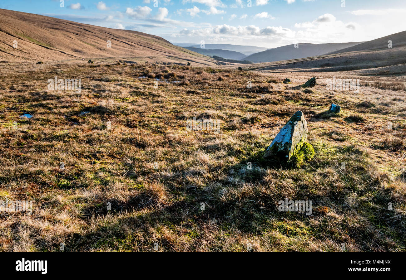 Cerrig Duon or Maen Mawr stone circle in the upper reaches of the Tawe valley in the Brecon Beacons of South Wales - Stock Image