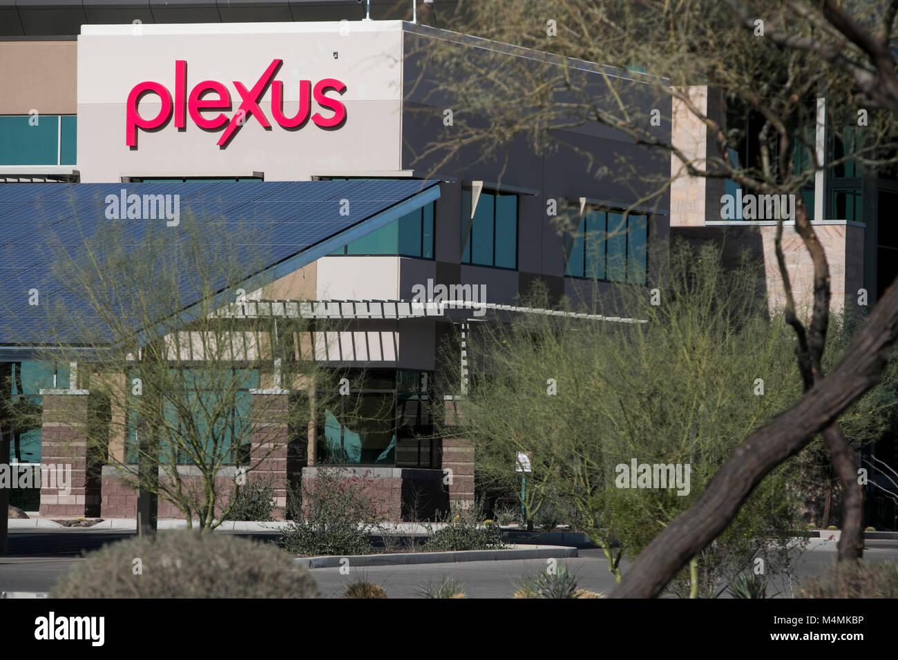 A logo sign outside of the headquarters of Plexus Worldwide in Scottsdale, Arizona, on February 4, 2018. Stock Photo