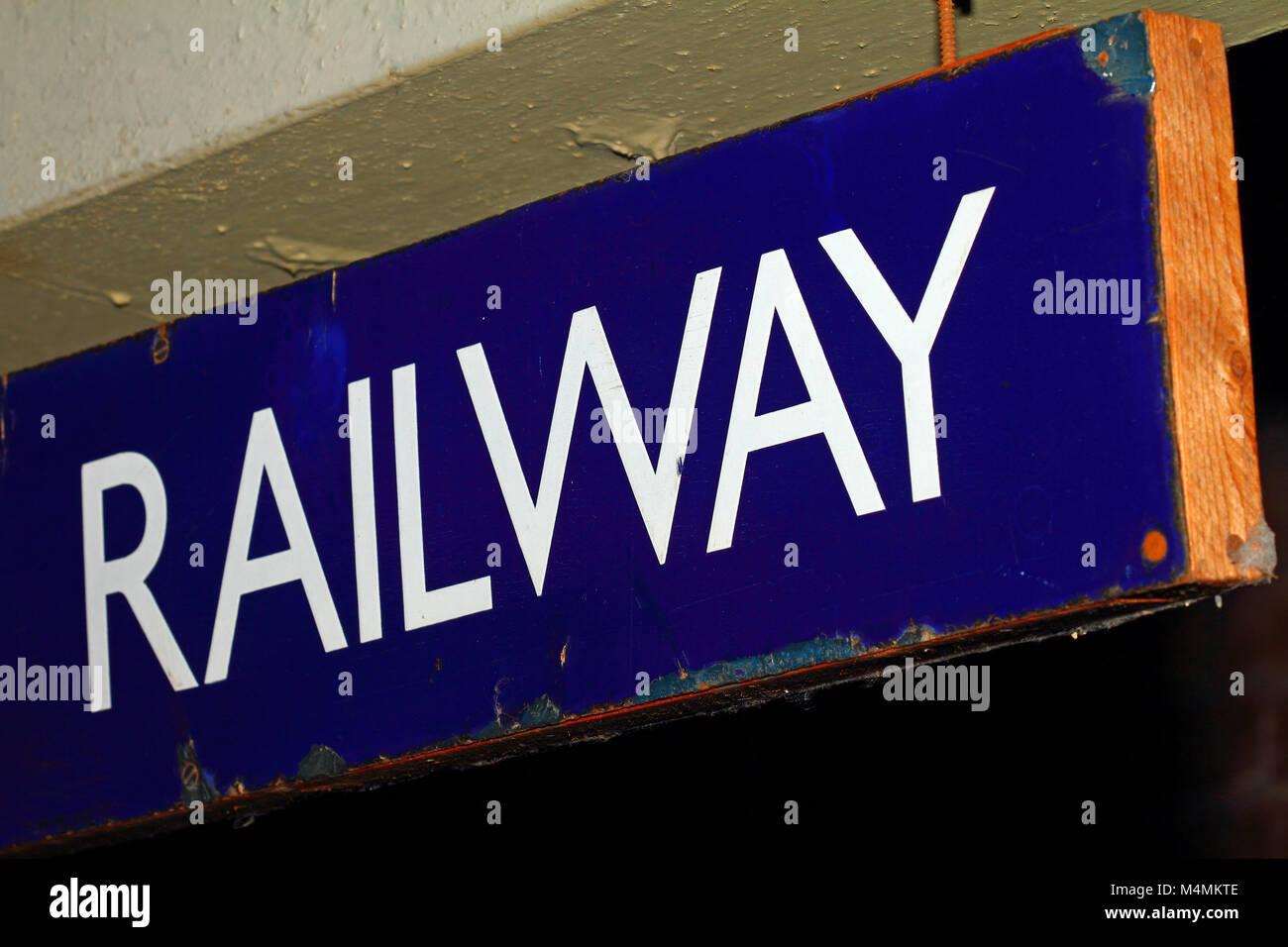 Old sign saying railway - Stock Image