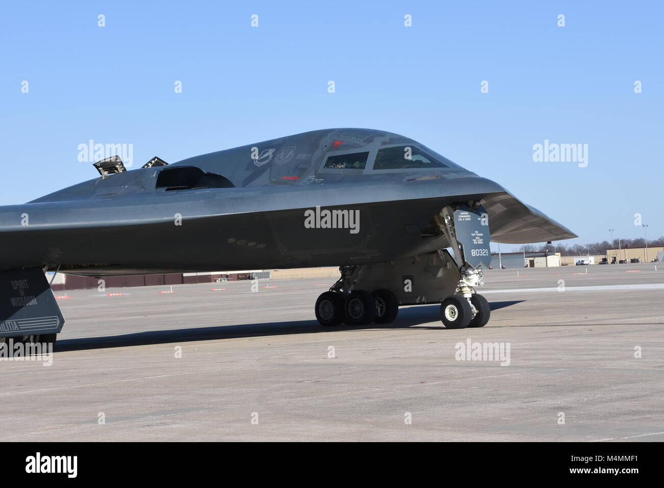 The Spirit of Missouri, the B-2 Flagship of the Missouri Air National Guard's 131st Bomb Wing, returns from a recent Stock Photo