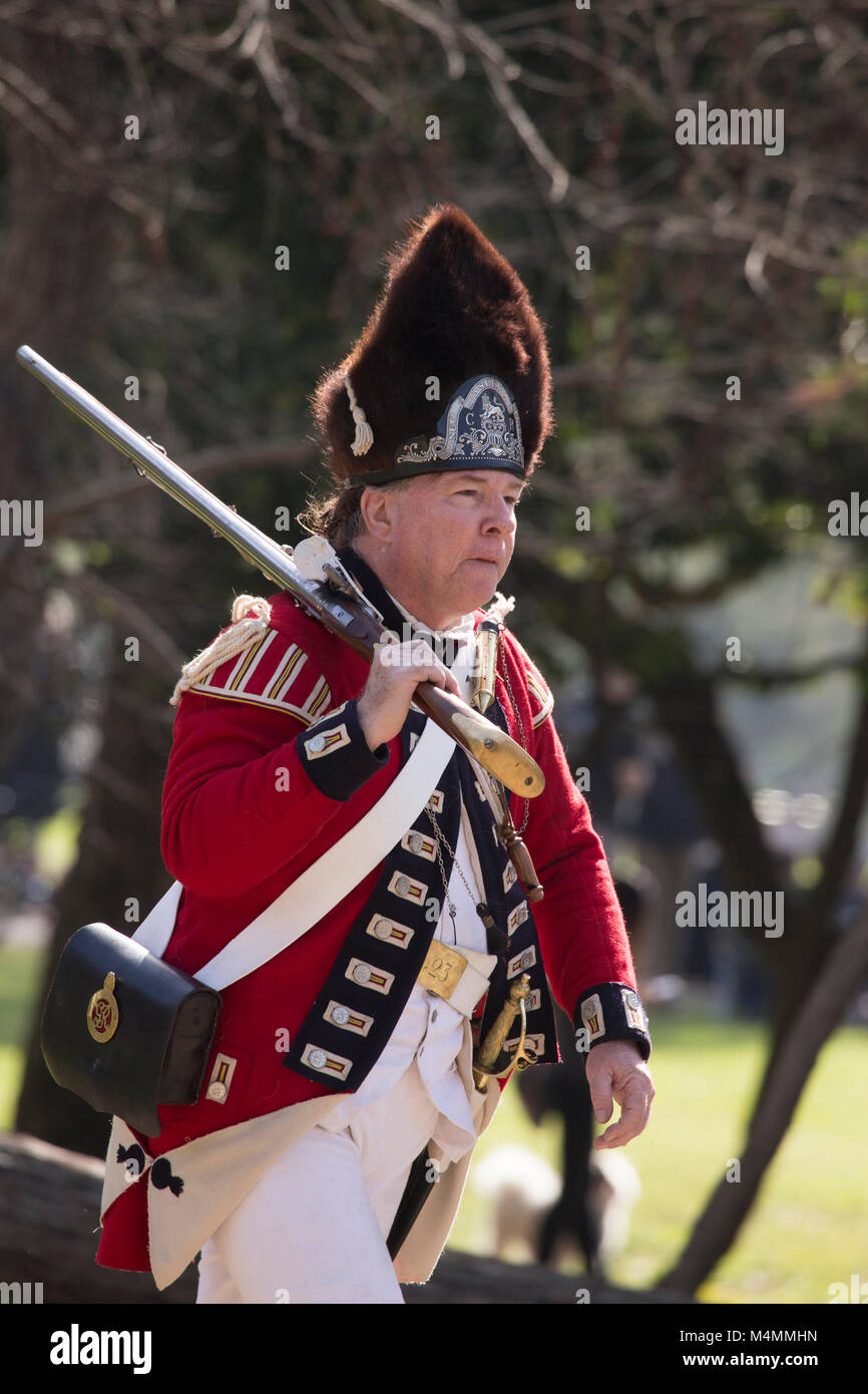 British redcoat soldier during a reenactment of the American