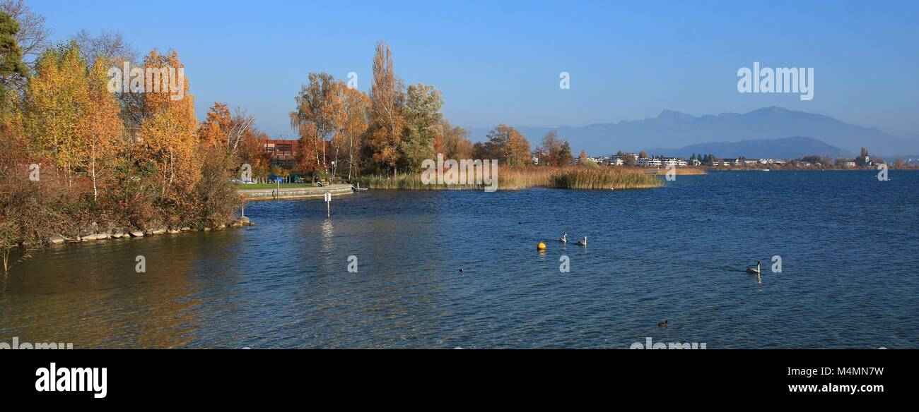 Autumn scene in Rapperswil, St Gallen canton. - Stock Image