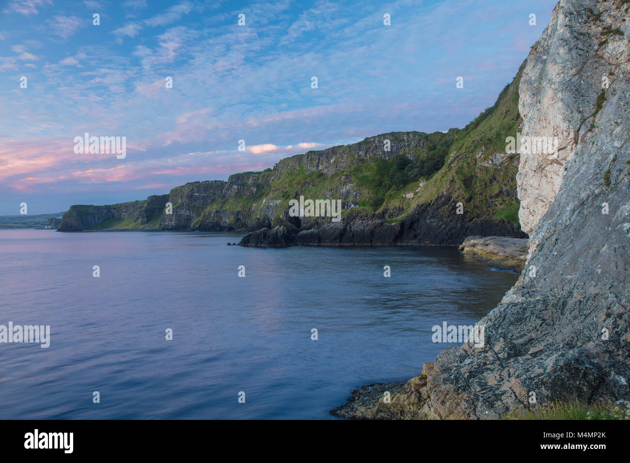 Sea cliffs near Kinbane castle, Portnakillew, Ballycastle, Country Antrim, Northern Ireland. - Stock Image