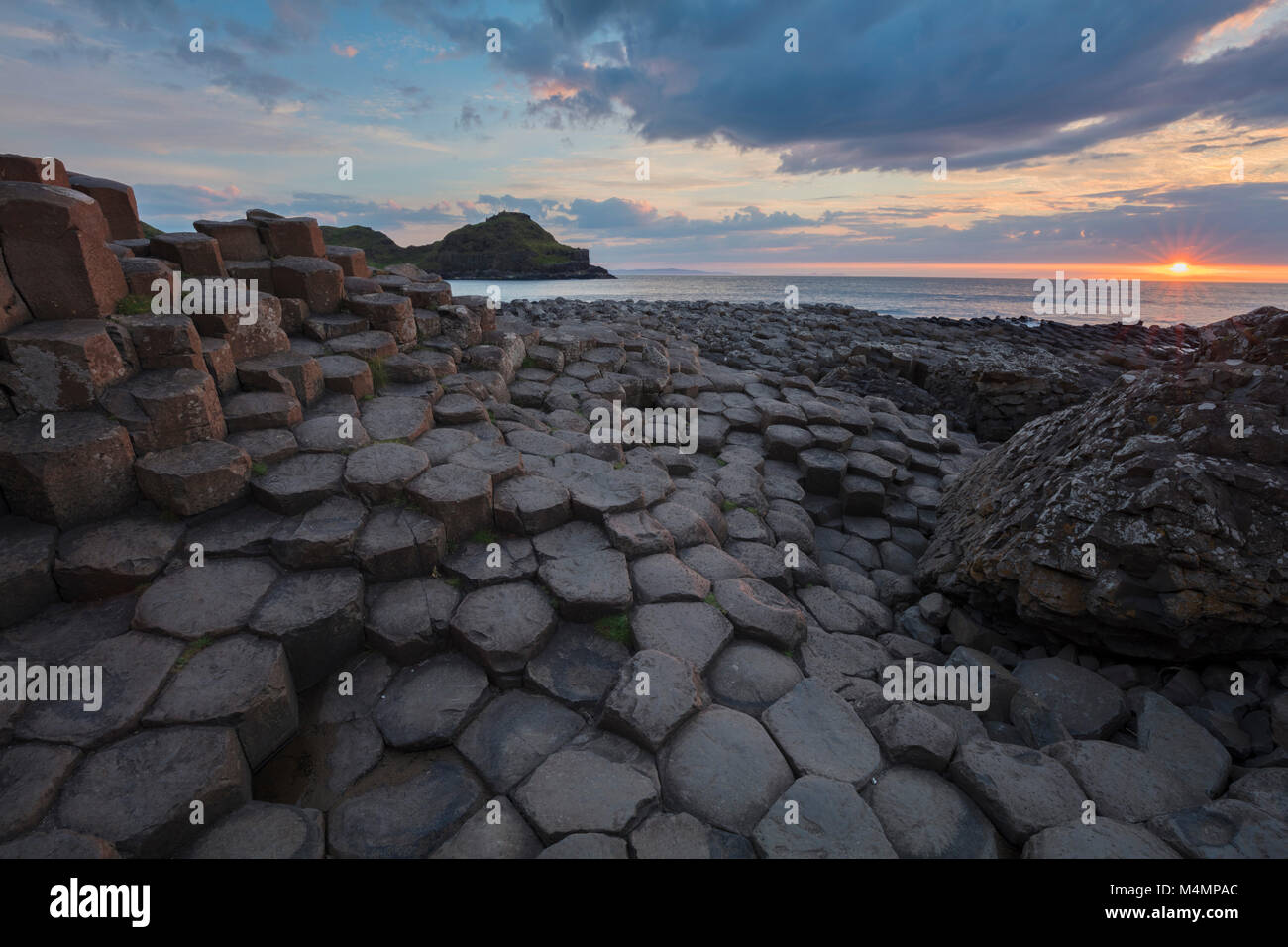 Sunset at the Giant's Causeway, Country Antrim, Northern Ireland. Stock Photo