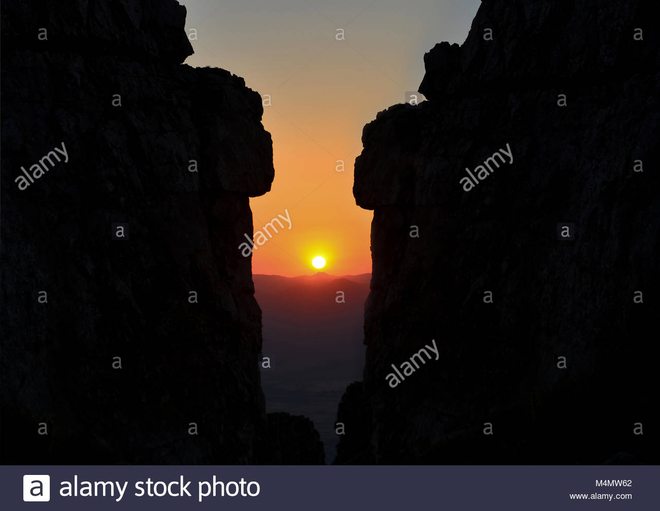 Fascinating and sunrising on high rocks - Stock Image