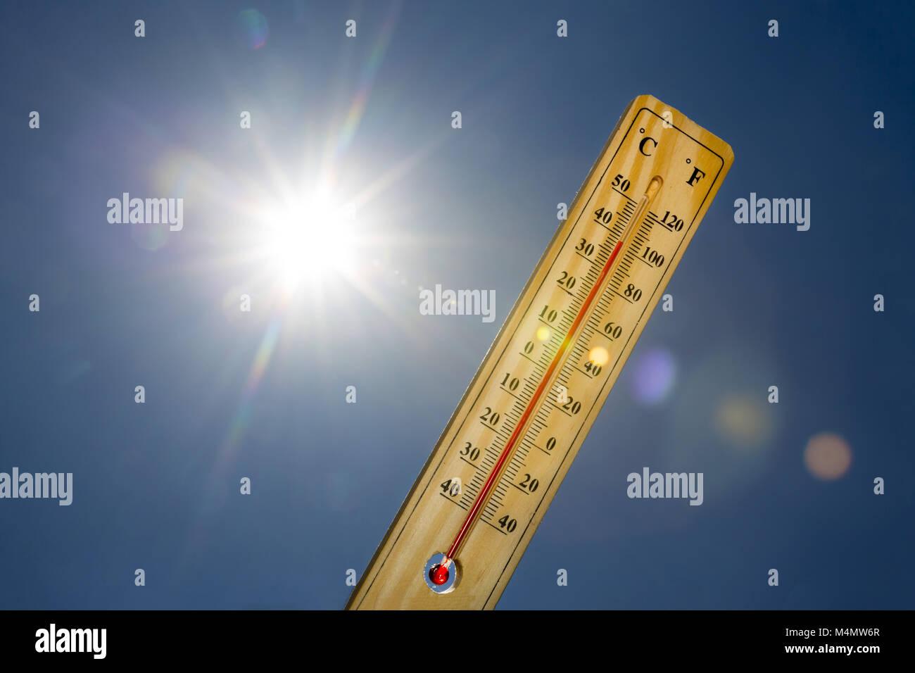 Mercury thermometer Summer heat Sun light - Stock Image