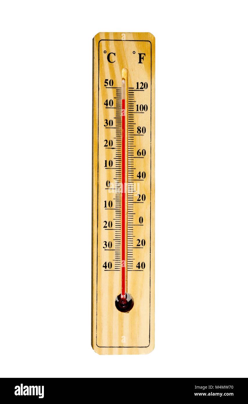 Mercury thermometer isolated on white - Stock Image
