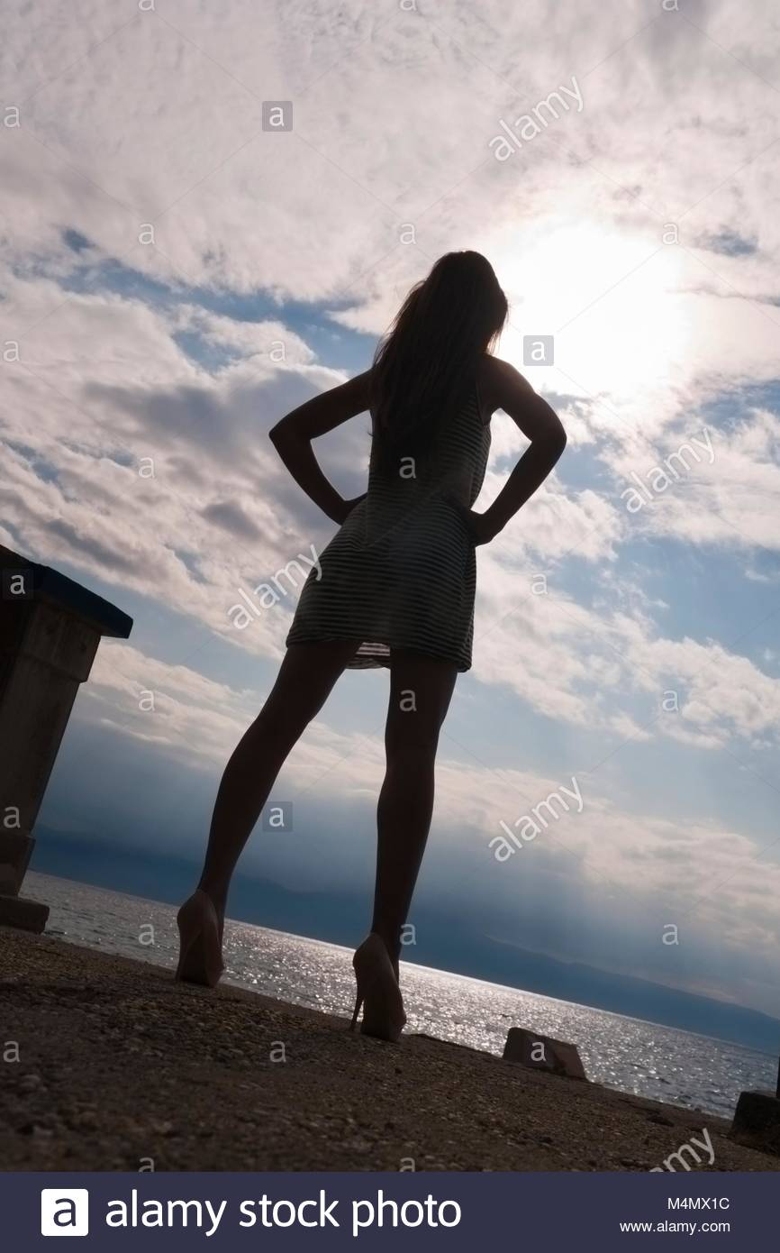 Young woman legs heels images alpfabet slim thin fit slender slenderfit skimpy clothing Stock Photo
