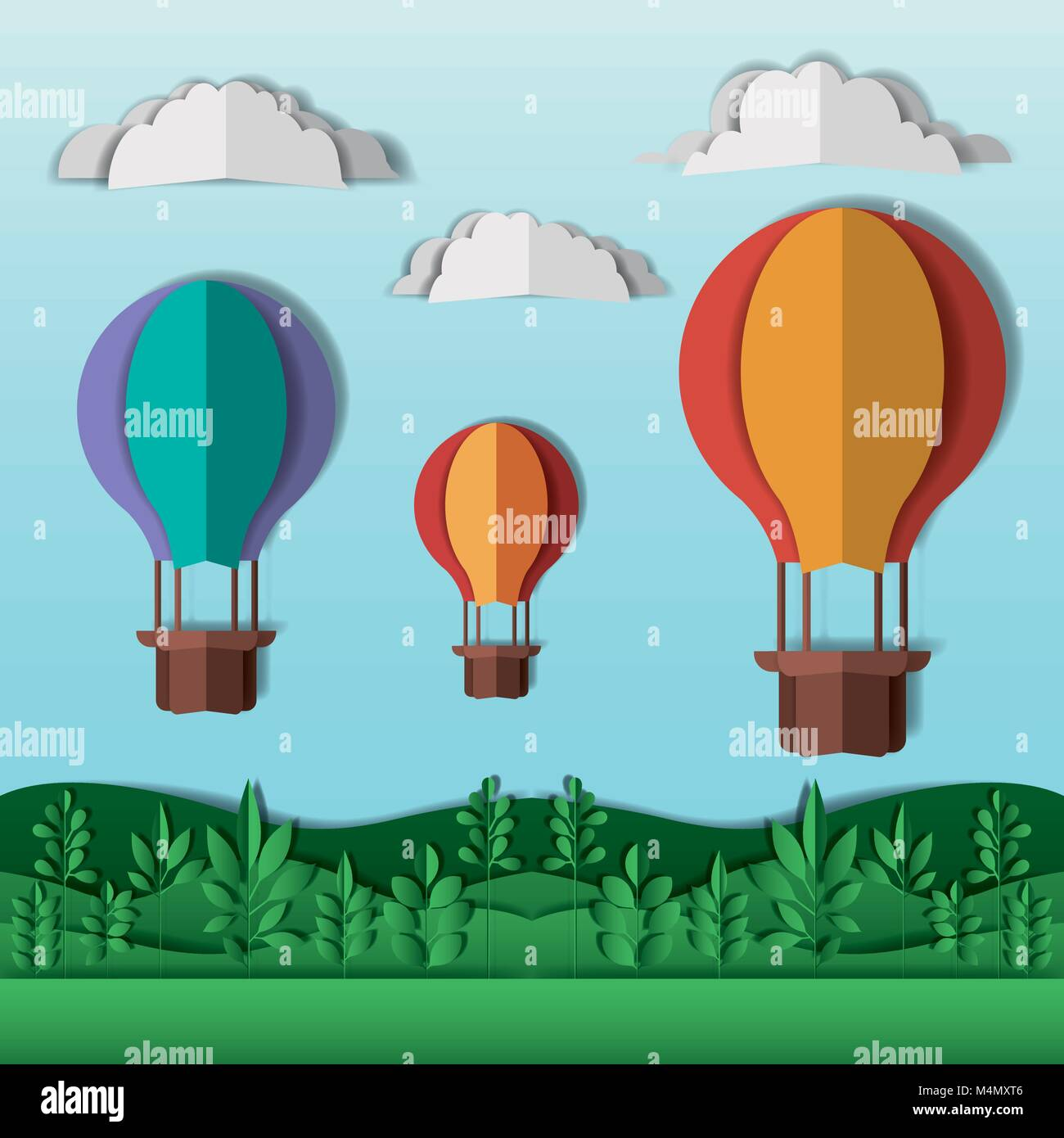 beautiful landscape with balloons air hot craft - Stock Vector