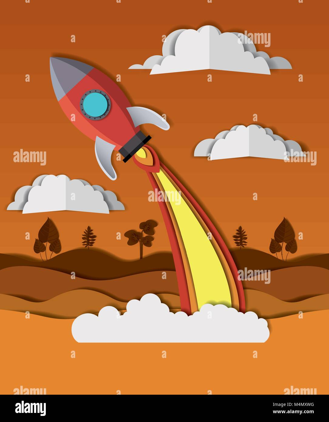 landscape with rocket launcher craft - Stock Image