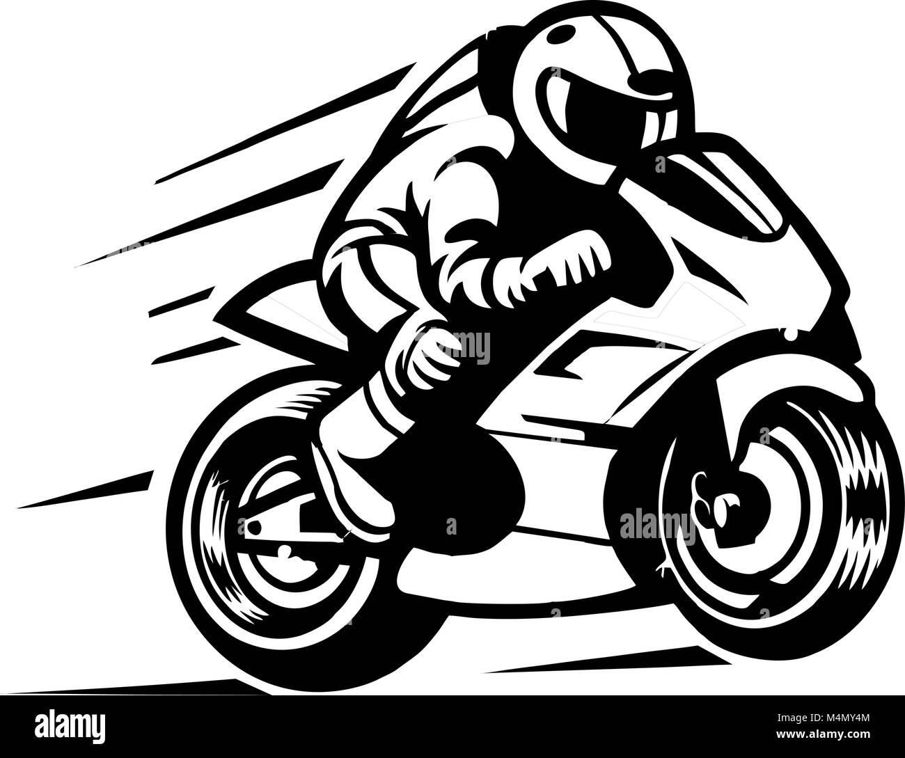 motociclista carrera racing Stock Vector