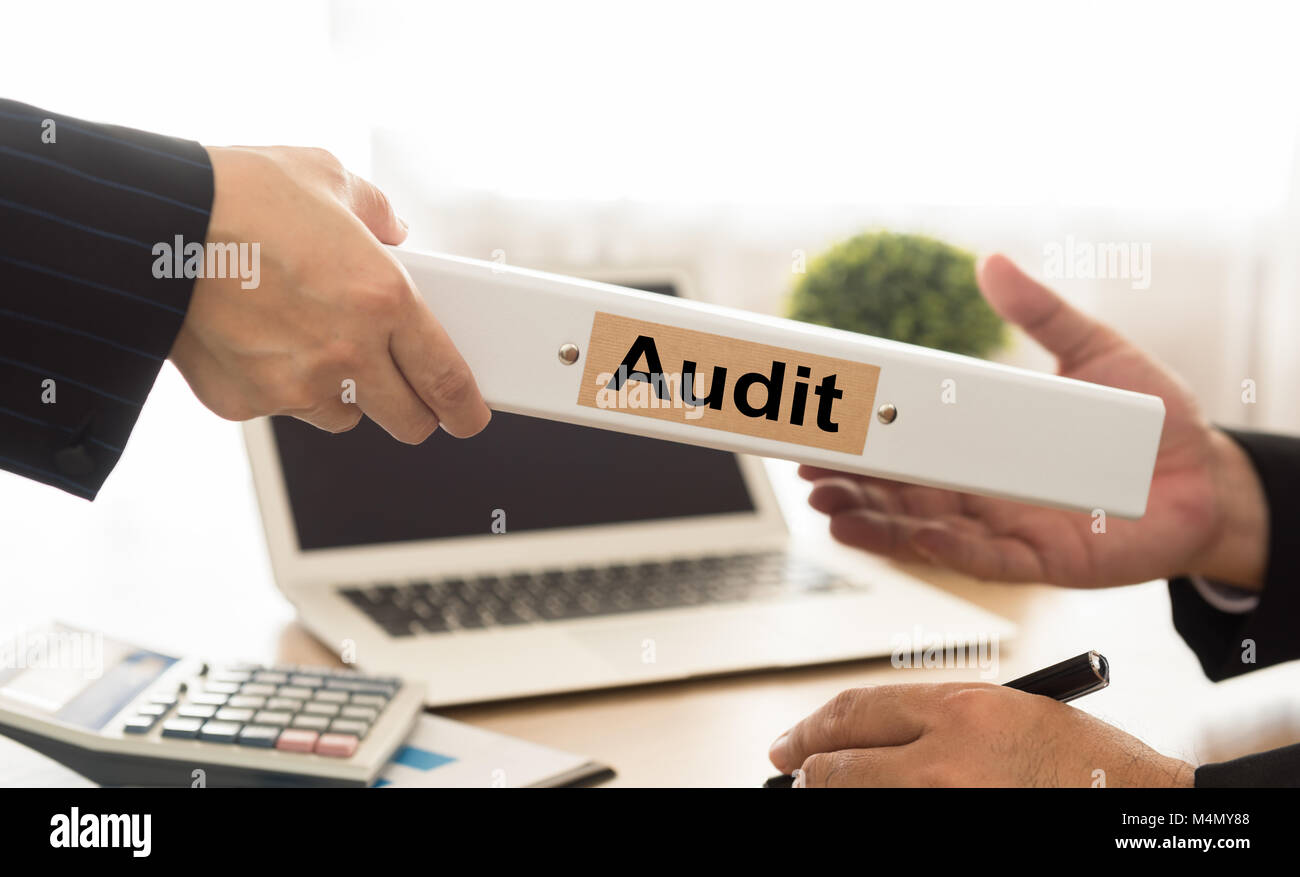 Auditor sends file audited financial statements of the Company to executives. - Stock Image