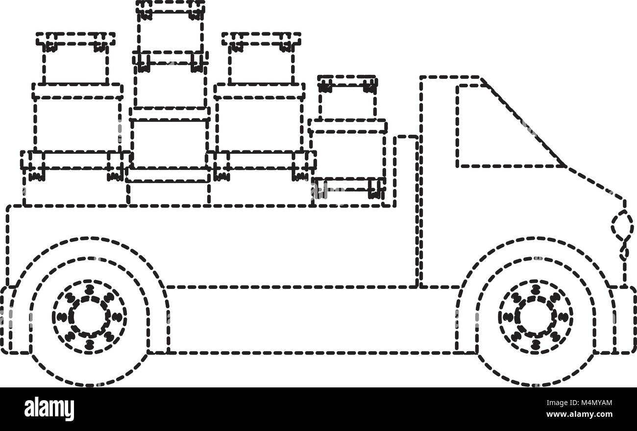 truck delivery with carton boxes service icon - Stock Image