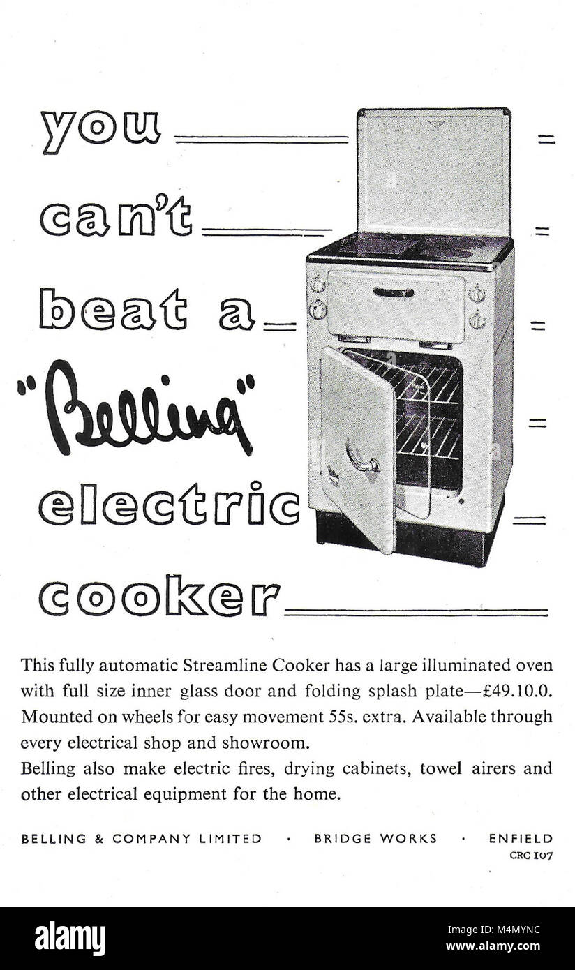 Belling electric cooker oven advert, advertising in Country Life magazine UK 1951 - Stock Image
