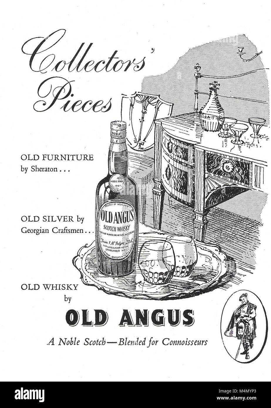 Collectors Piece Old Angus scotch whisky advert, advertising in Country Life magazine UK 1951 - Stock Image