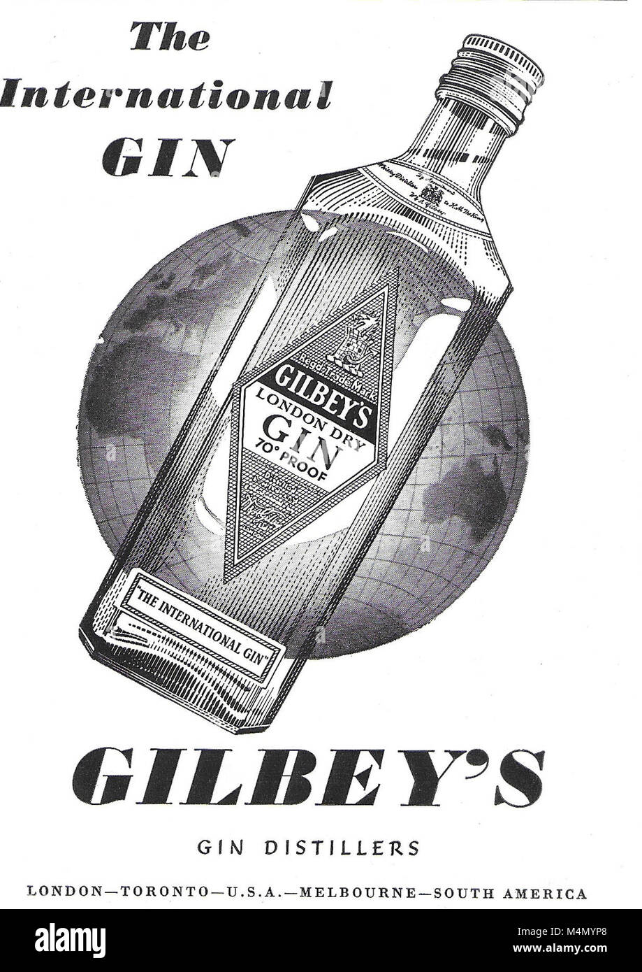 Gilbey's gin advert, advertising in Country Life magazine UK 1951 - Stock Image