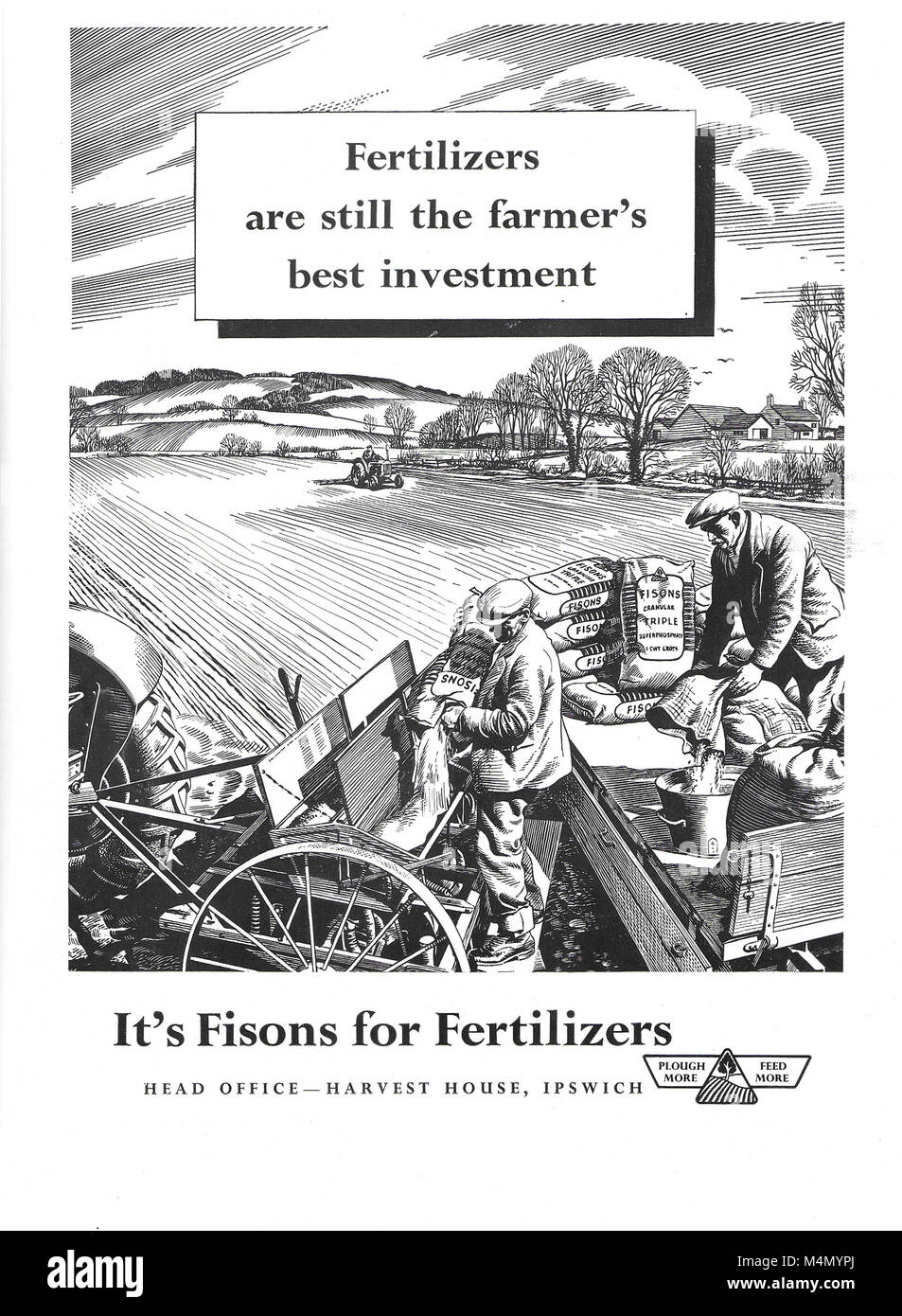 Fisons fertiliser advert, advertising in Country Life magazine UK 1951 - Stock Image