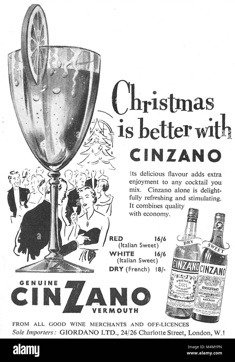 Christmas is better with Cinzano vermouth advert, advertising in Country Life magazine UK 1951 - Stock Image