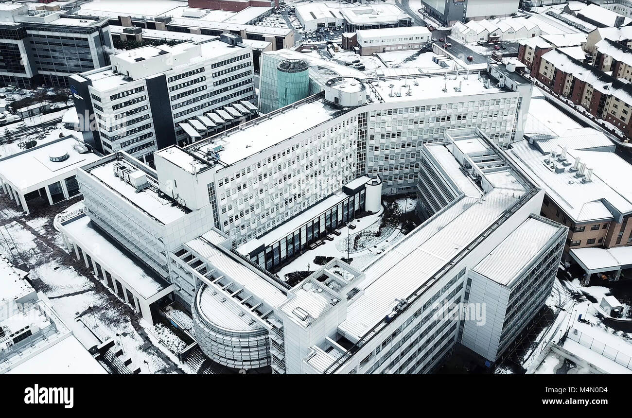 Glasgow Caledonian University Aerial Stills in Snow - Stock Image