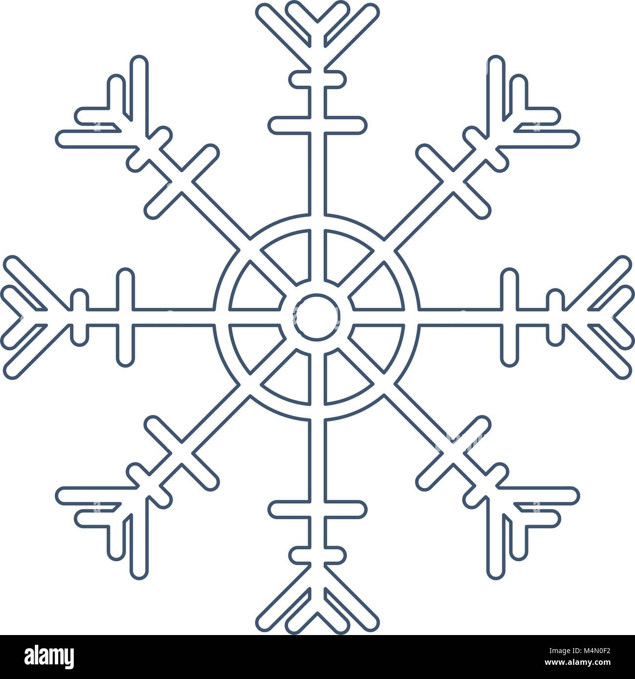 snowflake silhouette isolated icon - Stock Image
