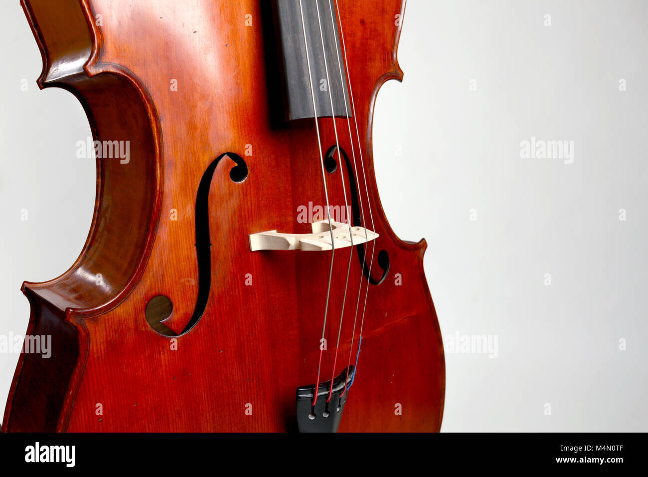 Old double bass c bout and belly on white background Stock Photo