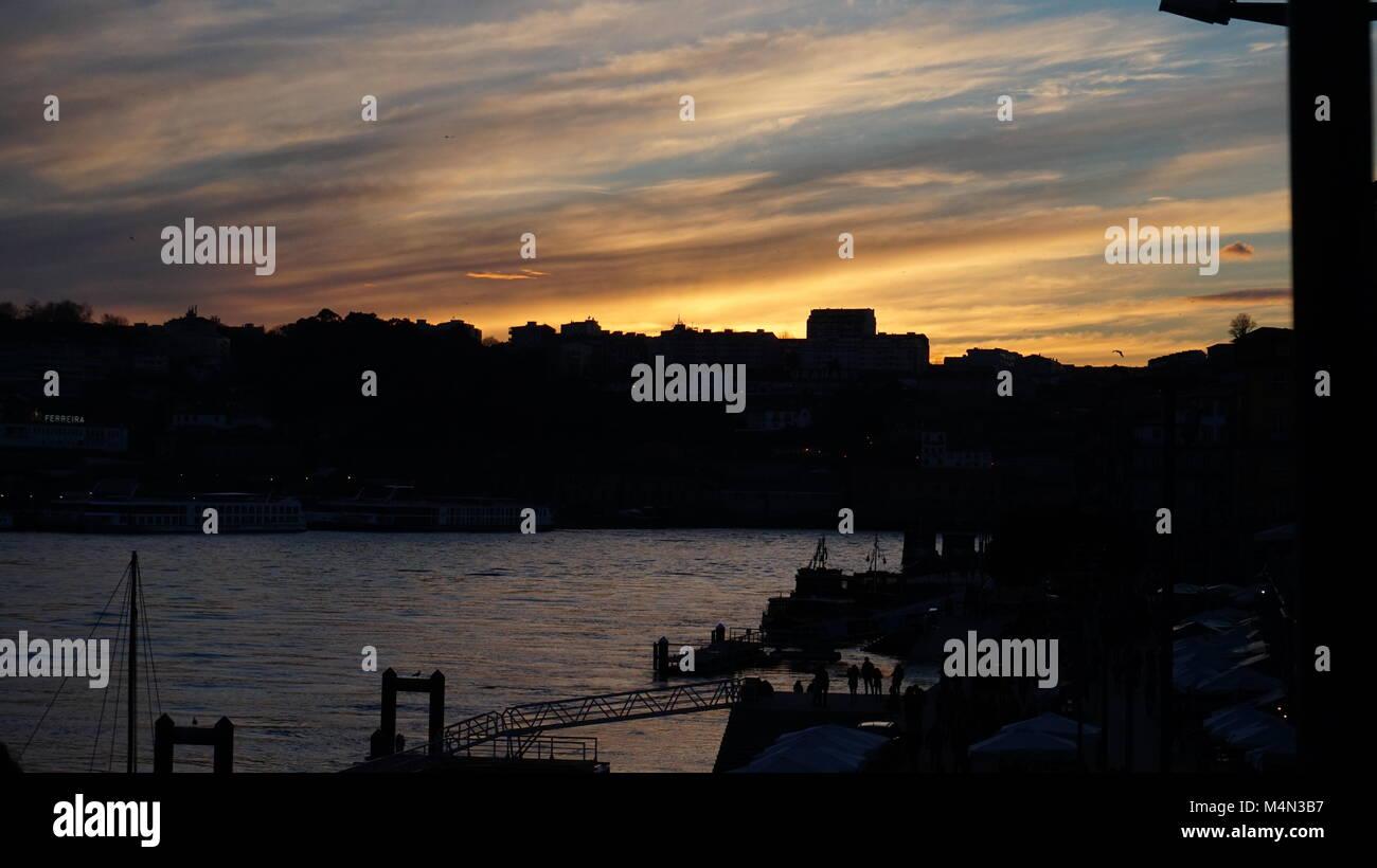 sunset in porto - Stock Image