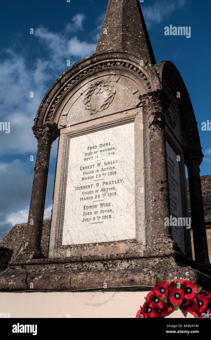 The war memorial, Ramsden, Oxfordshire, England, UK Stock Photo