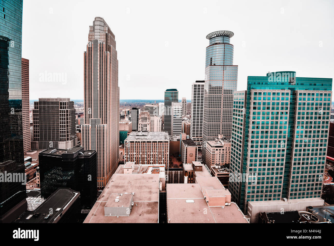 The view of downtown from the Foshay Building in Minneapolis Minnesota - Stock Image