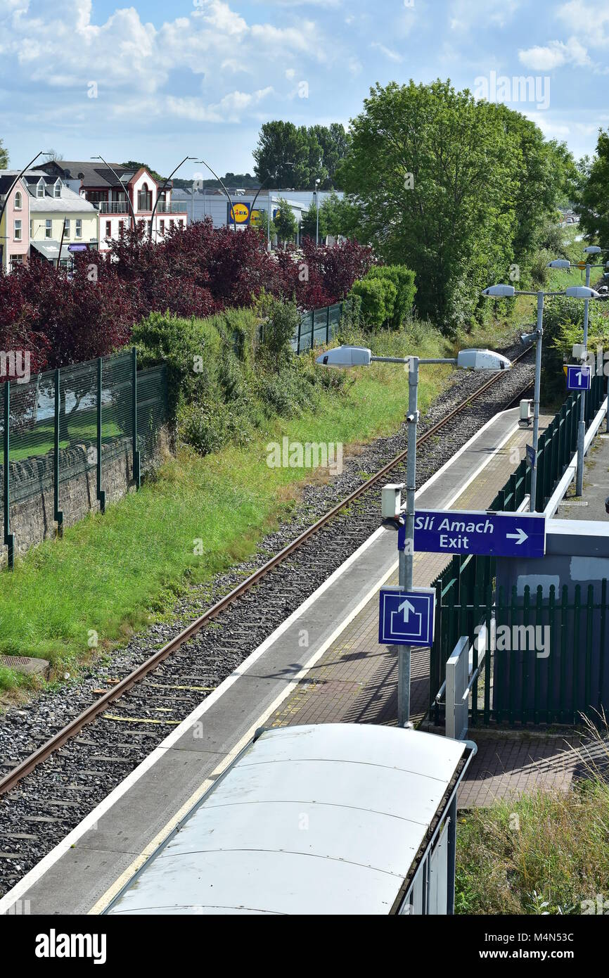 Small train station with just single railway in small Irish town of Kilcock in 2017. - Stock Image