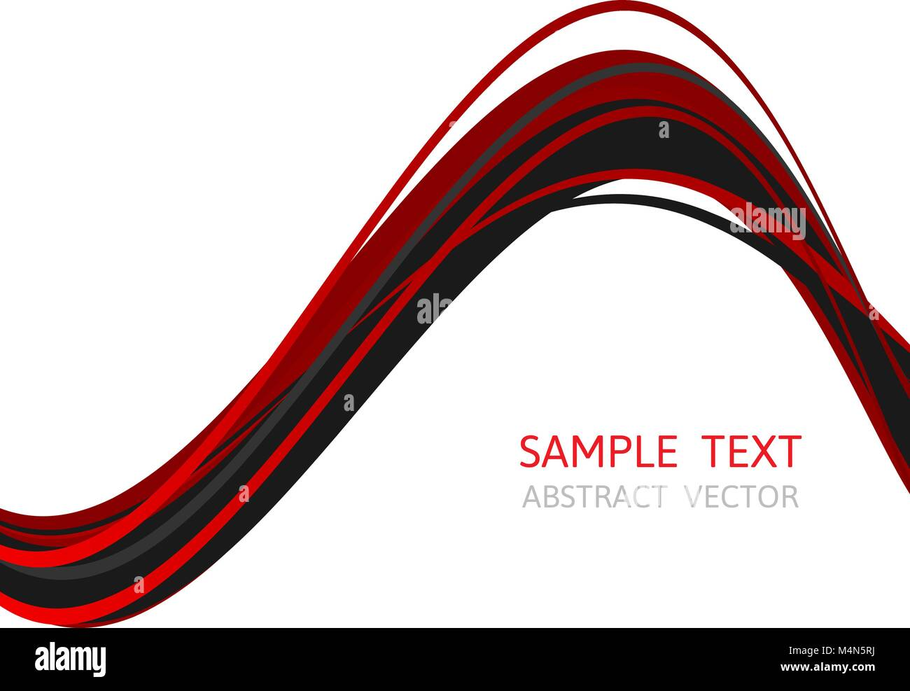 Line Wave Red And Black Color Abstract Vector Background